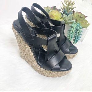 Burberry leather platform wedge espadrille sandal